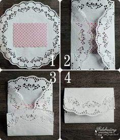 Doily Envelope Tutorial (envelope for spring invitation) Doilies Crafts, Paper Doilies, Valentines Bricolage, Valentine Crafts, Valentine Party, Tutorial Envelope, Doily Wedding, Tea Party Birthday, Pretty Cards
