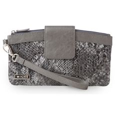 """Wristlet (silversnake) $24.95: The Wristlet is the perfect little take-along for your next dinner party or an evening at the club. It comfortably holds your mobile phone, lipstick, credit cards and car keys. This style features sexy faux leather snakeskin print in shades of black and grey with a high gloss finish. Purple/black/sage print fabric-lined interior with three credit card slots; top zipper closure with magnetic flap. Dimensions: 5"""" tall x 9"""" long; strap width: 1/2""""; strap length…"""