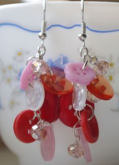 Red and pink button earrings