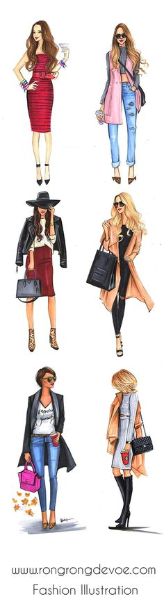 Fashion illustrations of street style fashionistas by Houston fashion illustrator Rongrong DeVoe, more fashion sketches on www.rongrongdevoe.com - Tap the link to see the newly released collections for amazing beach jewelry! :D