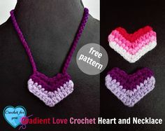 Gradient Love Crochet Heart is a quick and super easy pattern to play with scrap yarns…. You can make a necklace pattern using this hearts plus, you can use these little hearts as embellishments for hats, headbands and more.