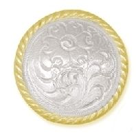 Sierra Silver & Gold Plated Concho - Sierra Silver & Gold Plated Concho Beautiful Gold and Silver plated concho. Silver Plate, Plating, Channel, Amp, Gold, Silverware Tray
