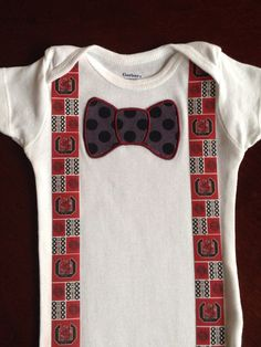 USC South Carolina Gamecocks Onesie - Bow Tie & Suspenders - Red Garnet Black White - Any Size Available - on Etsy, $17.00