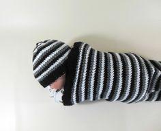 Cocoon, Sleep Sack, Sleep Bag, Blanket, Wrap in Black, White, Gray Stripes by HeavenBoundHCA, $25.00 USD  www.HeavenBoundHCA.com