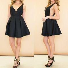MalangFashion Black Plain Pleated Plunging Neckline Party Polyester Mini Dress