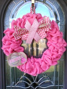 Beautiful breast cancer wreath hand made for me by my daughter in law.