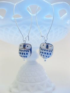 Blue Ceramic Owl Earrings on Long Wires by MegaloDesigns on Etsy, $14.00