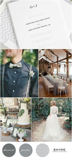 Rustic Wedding Inspiration -Succulents, Chevron, Lace Wedding Dress, Barn, Gray Bowtie, Navy Polka Dots, J. Crew, Macaroons, Chivari Chairs, Suspenders, Monogram Wedding Invitations