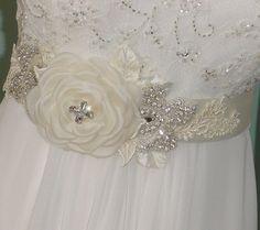 Wedding  Sash Bridal Dress Belt w Handmade Flower by AnnLeslie