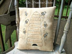 Hand Stitched Bee Skep Pillow Beehive Bees by valleyprimitives,
