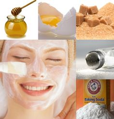 1) Honey helps soften and smoother your skin. 2) Salt add the energy and remove the extra fluid and of saturates the skin with mineral. 3) Sugar can be used as face and body scrub to polish and soften you skin. 4) Eggs yolks help nourish your skin, and the whites help tighten the brighten it. 5) Baking soda help treat acne and can be use to exfoliate the skin.