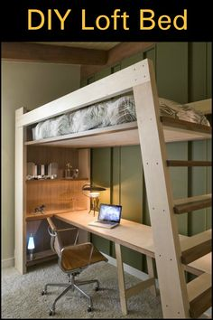 This DIY loft bed is perfect for those who lack space, and requires functionality.