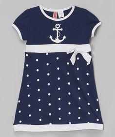 Navy Polka Dot Bow Dress - Infant, Toddler & Girls