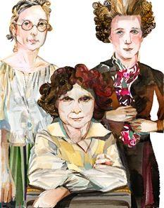 Rebecca Saunders, Sofia Gubaidulina, and Olga Neuwirth, featured at Miller Theatre. Illustration by Riccardo Vecchio.