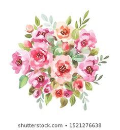 Similar Images, Stock Photos & Vectors of Watercolor drawing of a branch with leaves and flowers. Composition of pink roses, wildflowers and garden herbs Decorative bouquet isolated on white background. Simple Watercolor Flowers, Easy Watercolor, Watercolor Drawing, Flower Bouquet Drawing, Bouquet Flowers, Flower Art, Botanical Illustration, Wedding Designs, Design Elements