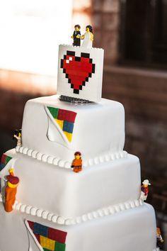 Jess & Mac's LEGO-tastic museum wedding, LEGO cake