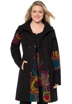 Heat things up in our fashion-foward plus size coat, flaunting a flattering A-line silhouette and a radiating print at front center panel and left sleeve.  this coat beautifully fits the bodice, creating a flattering waist and flows away at the hips to give a feminine hourglass figure double breast button-front closure, stand collar and removable hood with collar add chic versatility to this wonderful coat long sleeves end elegantly below your wrists features convenient side welt pock...