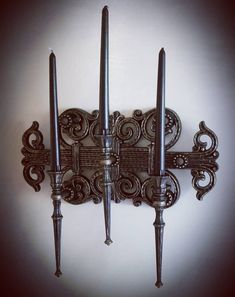 3 candle candelabra Gothic Victorian vintage wall sconce.