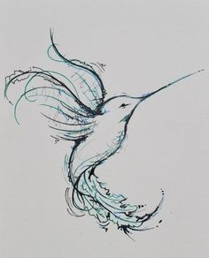 10. Blue #Hummingbird - 41 Inspiring and #Mostly Black and White #Tattoos to Inspire Your Next Ink #Session ... → #Inspiration #White