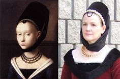Petrus Christus burgundian gown and truncated henin