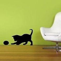 Playful Kitty with a Ball Vinyl Wall Art Decal Sticker