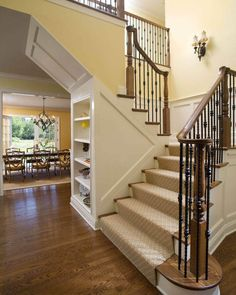 Elegant First Floor Renovation - traditional - staircase - new york - Knight Architects LLC Best Carpet For Stairs, Carpet Stairs, Wall Carpet, Basement Carpet, Wrought Iron Banister, Banisters, Stair Banister, Staircase Runner, Home Plans