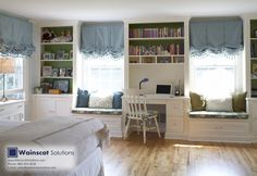 Built-in book shelves are the perfect way to add both beauty and organization into your home. Visit our website at:  http://www.wainscotsolutions.com/