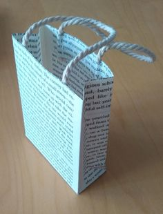 Recycling old books : Hand made gift bag using recycled book pages