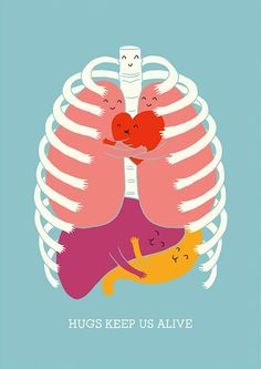 """Hugs Keep Us Alive"" illustration by Lim Heng Swee"