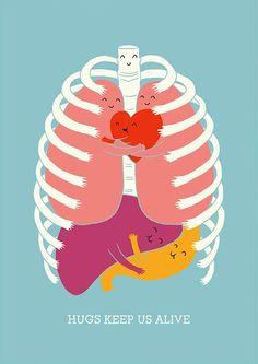 """Hugs Keep Us Alive"" illustration by Lim Heng Swee"