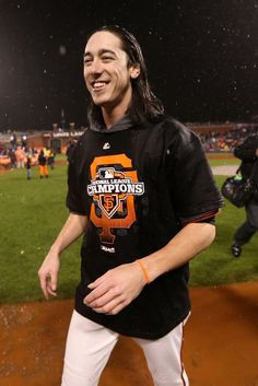 Tim Lincecum #55 of the San Francisco Giants celebrates after the Giants defeat the St. Louis Cardinals 9-0 in Game Seven of the National League Championship Series at AT Park on October 22, 2012 in San Francisco, California