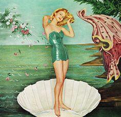 vebus, vintage, woman, mermaid, shell, vinyl, pin up