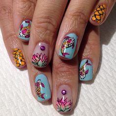 Koi x Lotus Flowers #raqstarnails #koifish #lotusflower