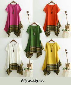 Minibee Women's Ethnic Cotton Linen Short Sleeves Irregular Tunic Dress (M, Black) - Salvabrani Frock Patterns, Dress Sewing Patterns, Modest Fashion, Boho Fashion, Fashion Dresses, Kurti Neck Designs, Blouse Designs, Iranian Women Fashion, Indian Fashion