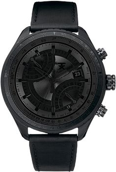 TX Pilot Watch Black on black is in and on display with the TX Pilot Watch ($575). This striking timepiece features a unique modern black dial with calendar, tachymeter, and dual time zone functions, a matte black stainless steel case, a plain black leather strap with buckle closure, and water-resistance down to 100 meters.