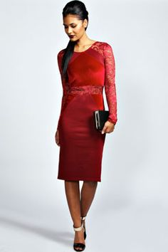 Hayley Lace And Velvet Bodycon Dress at boohoo.com