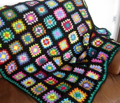 Funky Granny Square Crochet Blanket Afghan In by Thesunroomuk