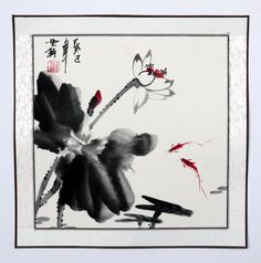 "Chinese painting Fish lotus 16x16"" xieyi brush ink waterlily watercolor art"