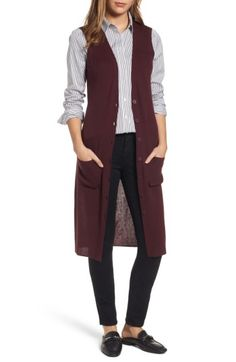 Shop the Nordstrom Anniversary Sale for brand-new arrivals at super-sale prices, July 20 - August Sweater Vest Outfit, Long Sweater Vest, Vest Outfits, Knit Vest, Chic Outfits, Early Fall Outfits, Spring Work Outfits, Winter Outfits, Long Vests