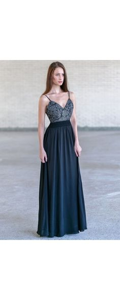 Lily Boutique Fancy Fascination Black Lace and Chiffon Maxi Dress , $44 Black Lace and Chiffon Maxi Dress, Cute Open Back Maxi Dress www.lilyboutique.com