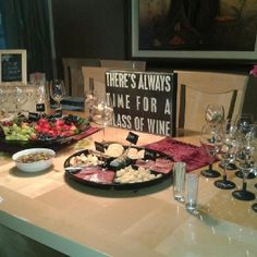 Wine Tasting Party table with chalkboard wine glasses instead of wine markers