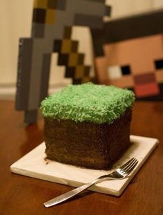 Mine craft cup cakes  - Danielle Goldsmith.  Here's what I'm looking for with the chocolate cakes.