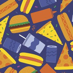 Image of Fast Food Wrapping Paper Textiles, Textile Prints, Textures Patterns, Print Patterns, Graphic Design Illustration, Illustration Art, Food Wrapping Paper, Outline Drawings, Food Illustrations