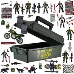 Jumbo Action Force Set - Army by Kids-Army. $29.99. Assorted Soldiers, Canine Soldiers, Enemy Combatants, Vehicles, Guns & Accessories. AND a 30 Cal. Kids-Safe Military Ammo Can. All Items get shipped in Ammo Can!. Total 55 pieces in all!. If you're tired of always treading on your child's toy soldiers, then the Jumbo Action Force Set is the ideal toy for your child. We have combined our popular 55 Pieces Toy Soldier Set with our #1 selling .30 Cal. Kids Safe Ammo Can. This w...