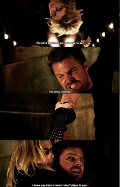 "#Arrow 5x20 ""Underneath"" - ""You have to let me go! You have to go! I know you hate it when I don't listen to you"" - #FelicitySmoak #OliverQueen"