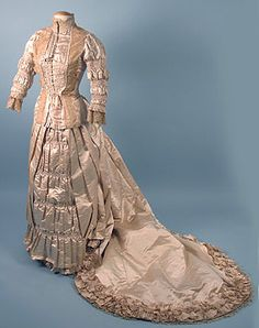 Trained Ivory Satin Wedding Gown, 1880s Session 2 - Lot 807 - $1150