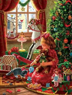 Celebrating Christmas all year long! Old Time Christmas, Old Fashioned Christmas, Christmas Scenes, Noel Christmas, Victorian Christmas, All Things Christmas, Christmas Morning, Illustration Noel, Christmas Illustration