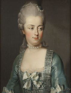 Marie-Antoinette 1775 by Joseph Hickel (1736-1807) Austrian court painter. His younger brother, Karl Anton Hickel (1745-1798), became official court painter to Joseph II and in 1786 travelled to France where he worked under the patronage of both Marie Antoinette and the Princesse de Lamballe.  (National Museum of Sweden, Gripsholm Castle).