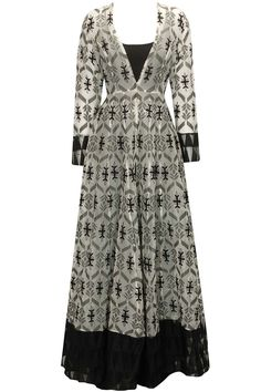Black and white brocade anarkali kurta with pants available only at Pernia's Pop-Up Shop.