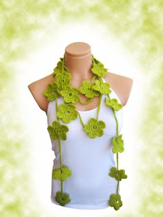 Hand made crochet Olive Green Flower Lariat by WomanStyleStore, $23.90